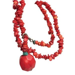 Jewelry - Long red coral beaded necklace turquoise accent